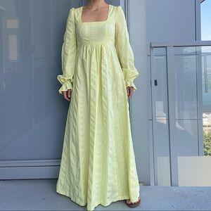 Vintage Cottagecore Lemon Maxi Dress